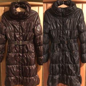H&M Abrigo acolchado marrón oscuro-negro