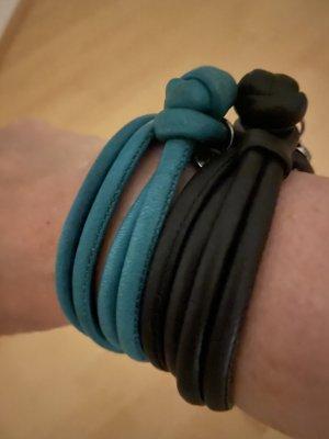 Ole Lynggaard Leather Bracelet black-cadet blue