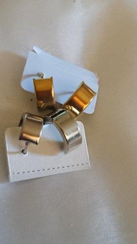 2 Paar Edel Stahl Süße kleine Ohrringe ,Creolen ,Gold / Silber Farbe