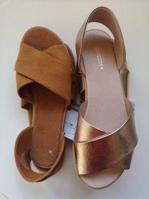 H&M Divided Flip flop sandalen goud-cognac