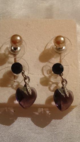2 Paar Süße kleine Ohrringe ,Perlen Beige und Herz Purpur Farbe Glas