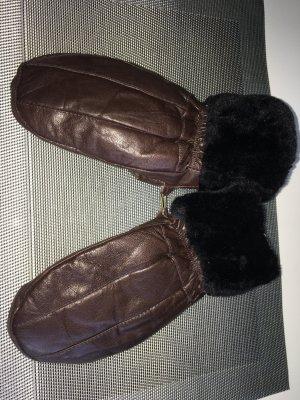 Moufle brun cuir