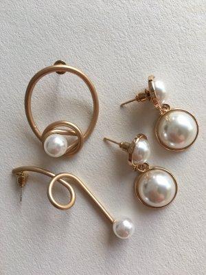 Pendientes de perlas naranja dorado-blanco