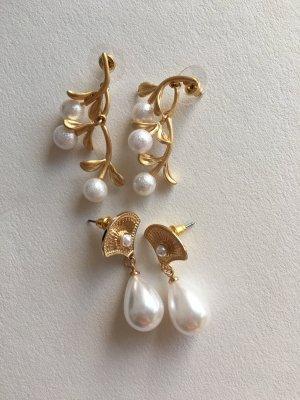 Orecchino di perle giallo-oro-bianco