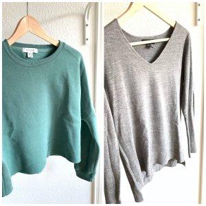 2 Pullover in hellgrau und grün-blau