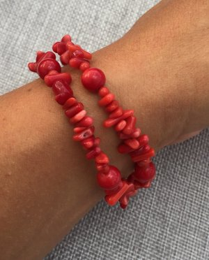 2-REIHIGES ARMBAND BAMBUS KORALLE ROT 925SILBER KUGELN & NUGGETS
