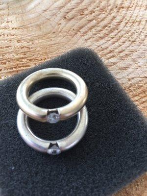 2 Ringe 925 silber u goldfarben mit einem Zirkonia Gr.56