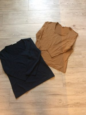 2 S. Malon 3/4 Arm Shirts blau + Caramel Gr XL