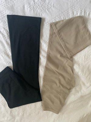 H&M Pantalon pattes d'éléphant noir-beige