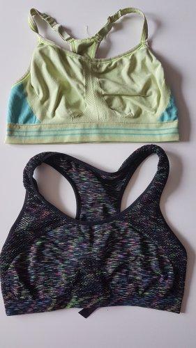 2 Sport-BH top bügellos bustier mesh Fitness yoga neu gr L
