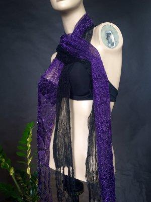 2 Stk. Duo Pack Doppel Schal Glitzer Halstuch violett lila schwarz Fransen