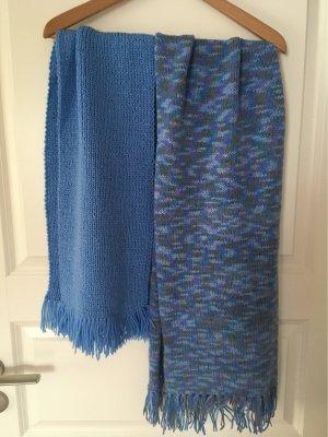 Gebreide sjaal korenblauw