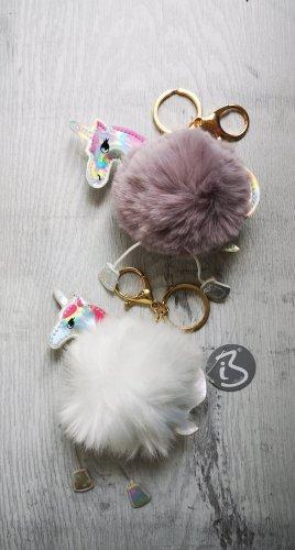 2 süße Schlüssel-/Taschenanhänger puschlige Einhörner  NEU