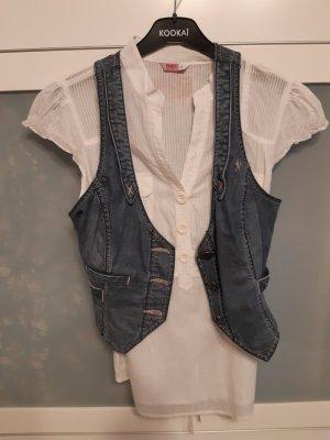 Edc Esprit Smanicato jeans bianco-blu