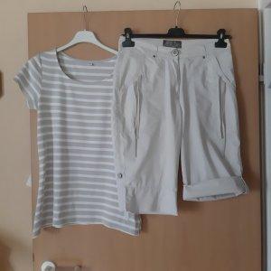 2 teiler : Bermuda und Shirt beige / weiß Größe 38