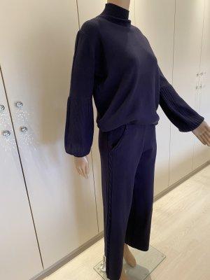 Bluoltre Twin set in maglia blu scuro