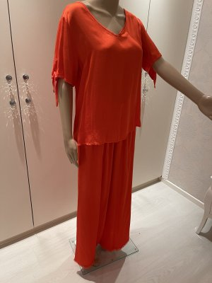 Made in Italy Twin set in jersey arancio neon