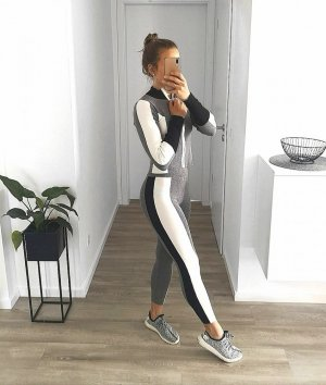 2-teiliger Jogginganzug grau weiß – XS-M