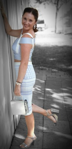 aus Italien Midi-jurk wit-babyblauw