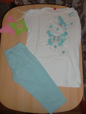 Esprit Pyjama white-light blue cotton