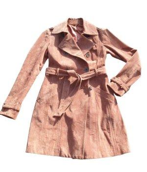 2 x getragen: Echtleder Velourleder-Trenchcoat von Heine, lachs, Größe 36