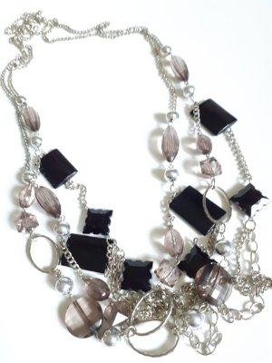 2 x Lange Halskette Farbe - Silber - schwarz neue!