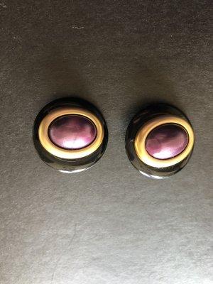 2 x Ohrclips - Modeschmuck - Retro - 70ger - rot - violett - schwarz - gold