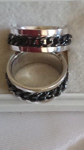 Pierścionek dla par czarny-srebrny