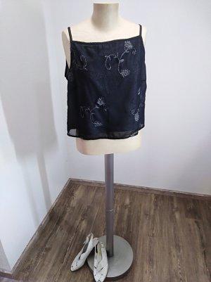 2000s Croptop schwarz silber glitzer bestickt Blumen Gr. S/M