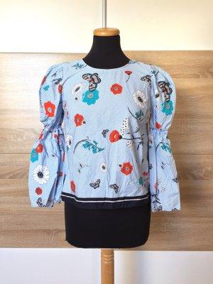 20012101 Blau weiß Streifen Bluse, Volants von Zara, Gr. XS (NEU)