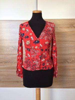 20031507 Rote Millefleur Blumen Knöpfe Bluse von Zara, Gr. XS