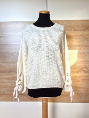 20032311 Weißer Strickpullover, Schnürung Sweater von Tally Weijl, Gr. XS (NEU)