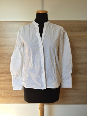 20032755 Weiße Perlen Basic Baumwolle Bluse von Zara, Gr. XS