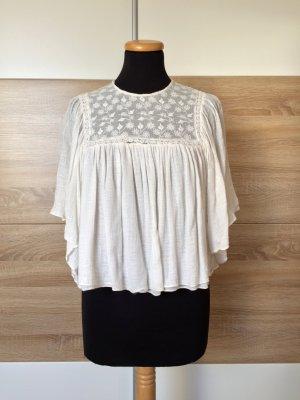 20032771 Weiße Stickerei Baumwolle Bluse von Zara, Gr. S (NEUw.)