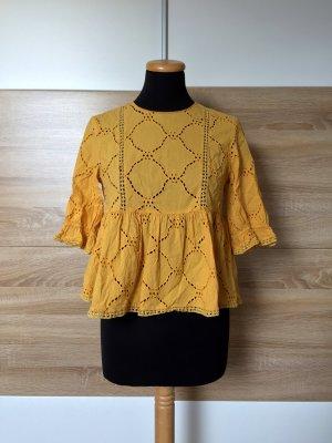 20040703 Gelbe Lochmuster Bluse, Stickerei Shirt von Zara, Gr. XS (NEU)