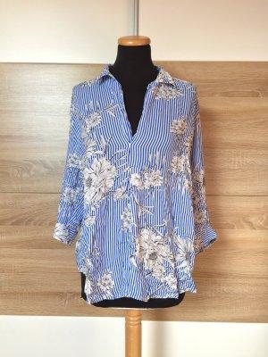 20052301 Blau weiß Streifen Blumen Bluse von Zara, Gr. L (NEUw.)