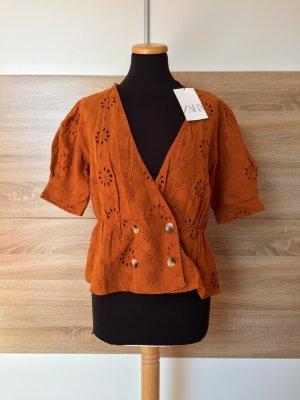20052404 Orange Lochmuster Stickerei Bluse, Hemd von Zara, Gr. XL (NEU)