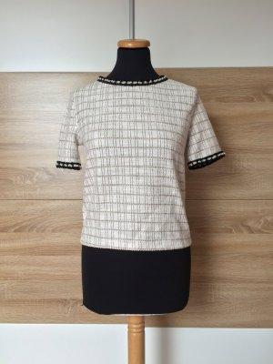 20061801 Beige weiß Karo Bluse, Strick Preppy Shirt von Zara, Gr. S (NEU)
