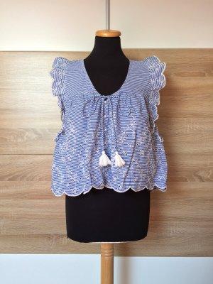 20062201 Blau weiß Streifen Bommel Bluse von Zara, Gr. M (NEU)