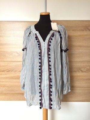 20062202 Blau weiß Streifen Bommel Tunika, Bluse von Zara, Gr. S (NEU)