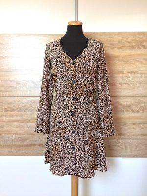 20062305 Braun schwarz Leoparden Knöpfe Kleid von H&M, Gr. 34 (NEU)