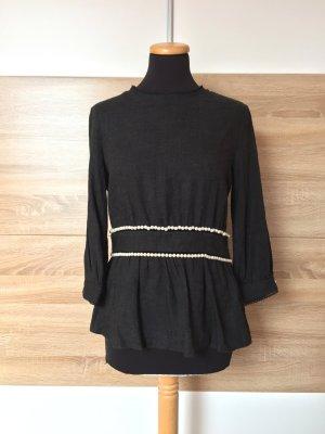 20062403 Grau schwarz Perlen Bluse von Zara, Gr. M (NEU)