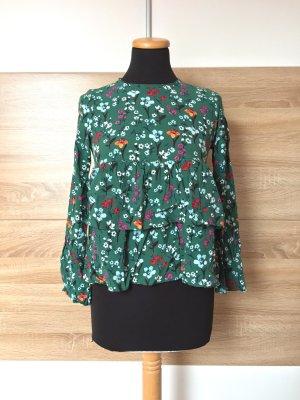 20062406 Grüne Blumen Bluse von Zara, Gr. XS