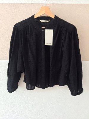 20062809 Schwarze Lochmuster Stickerei Bluse von Zara, Gr. L (NEU)