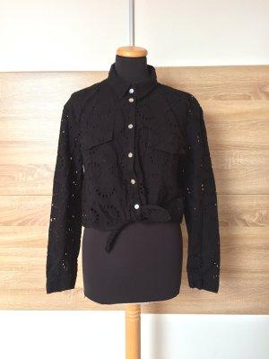 20062817 Schwarzes Lochmuster Knoten Hemd, Bluse von Zara, Gr. S