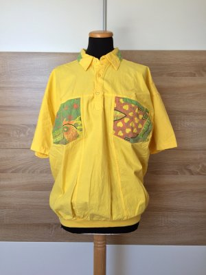 20062901 True Vintage gelb Patch Hemd, Baumwolle Shirt, Gr. S