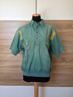 20062902 True Vintage grün Knöpfe Hemd, Baumwolle Shirt, Gr. S