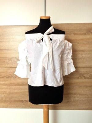20063002 Weiße Basic offshoulder Bluse von Zara, Gr. XS (NEUw.)