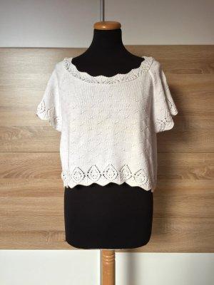 True Vintage Top en maille crochet blanc tissu mixte