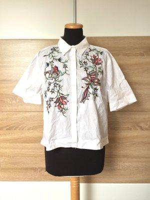 20063013 Weiße Blumen Stickerei Bluse, Hemd von Zara, Gr. XL (NEU)